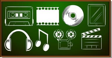 Icon design with entertainment objects