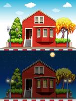 Single house at daytime and nighttime
