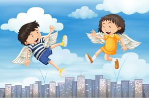 Boy and girl with wings flying in the sky vector