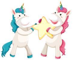 Cute unicorn holding star