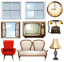 Different vintage furnitures on white