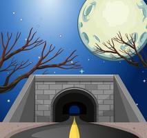 Scène met tunnel 's nachts