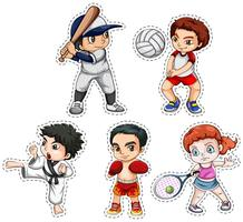 Sticker set of kids doing many sports