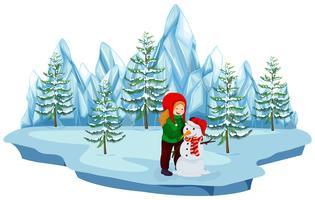 Una niña construyendo muñeco de nieve sobre fondo blanco