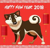 Happy new year for 2018 with cute dog