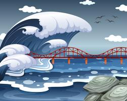 A tsunami hit the ocean bridge vector