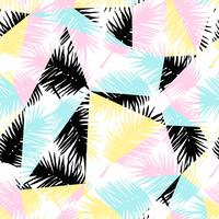 Sem costura padrão exótico com palmeira tropical deixa no fundo geométrico.