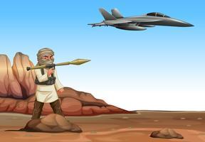 Terrorista atirando em avião militar