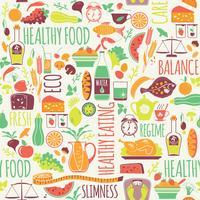 Padrão sem emenda de vetor com ilustração de comida saudável.