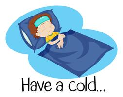 An illustartion of a child with a cold