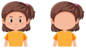 Set of brunette girl character