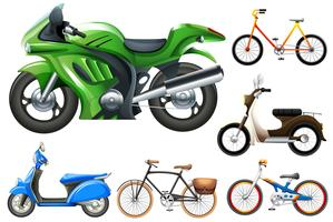 Set of motobike and bicycles vector
