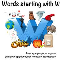 English words starting with W illustration