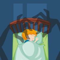 Un garçon ayant un cauchemar