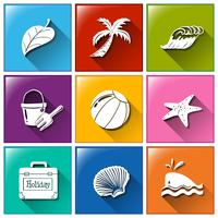 Icons with the different objects for summer