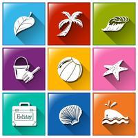 Pictogrammen met de verschillende objecten voor de zomer