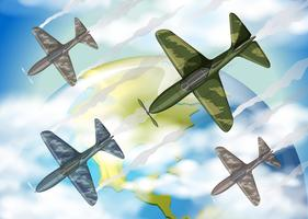 Four military airplanes flying over the world
