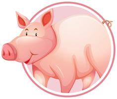 Pig in circle banner