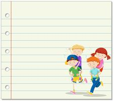 Line paper with kids playing piggy back ride in background