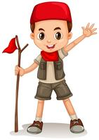 Boy holding red flag vector