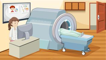 MRI scan at hospital vector