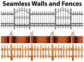 Seamless walls and fences vector