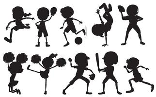 Set of silhouette sport athlete character