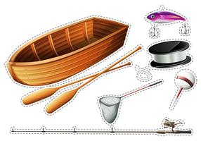 Fishing boat and other fishing equipments vector