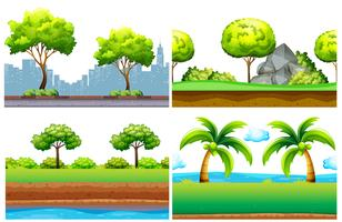 Four seamless background design with green trees