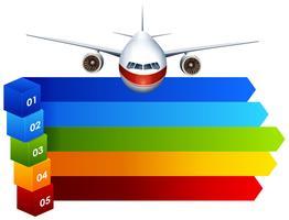 Rainbow infographic with aeroplane vector