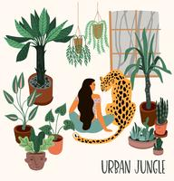 Urban Jungle. Vector illustration with trendy home decor.