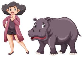 Woman and cute hippo on white background
