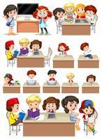 Set of school students studying
