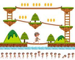 Design de jogo de madeiras com personagem de desenho animado
