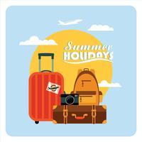 Vector ilustración plana de vacaciones de verano.
