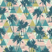 Sem costura padrão exótico com palmeiras tropicais e fundo geométrico.