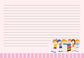 Line paper template with kids and books