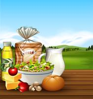 Set of food scene vector