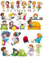 Meninos e meninas fazendo atividades