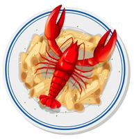 An isolated lobster pasta