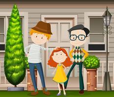 Uma feliz família de adoção LGBT