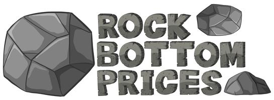 Font design for rock bottom prices