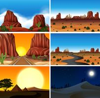 Set of diferent desert scenes