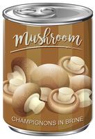 Can of mushroom champignons in brine
