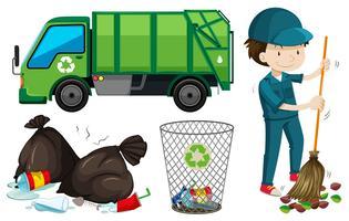 Conjunto de camión de basura y conserje.
