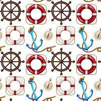 Seamless background design with safety ring and anchors
