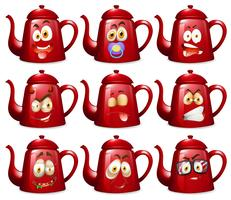 Red teapots with facial expressions