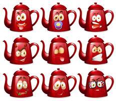 Rote Teekannen mit Gesichtsausdrücken