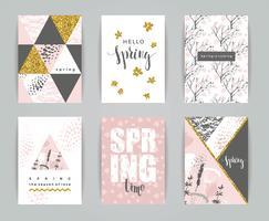 Conjunto de cartões artísticos criativos da primavera.
