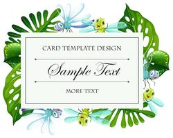 Card template with green leaves and dragonflies